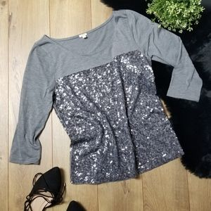 J Crew Sequin Sparkly Top Party Grey Festive